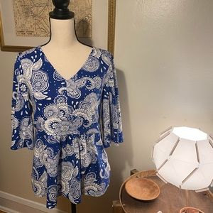 Boden 3/4 Bell Sleeve Blue and White Top Size 10